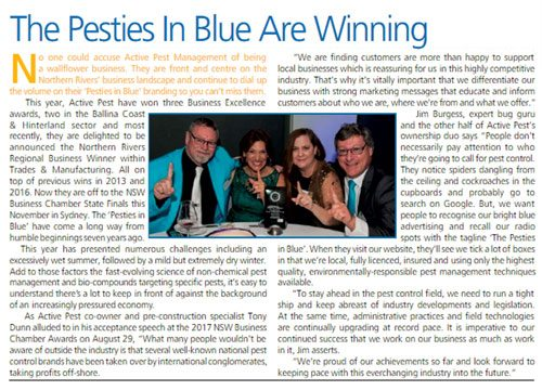 Pesties in Blue winning NSW Business Chamber Northern Regional Excellence Award 2017