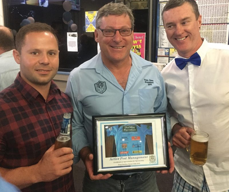 (L to R) Daniel Curran, Tony Dunn, Gerard Weldon with thank you plaque for sponsorship of Ballina Seahorses Rugby Club